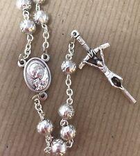 "pewter roses JOHN PAUL II/CZESTOCHOWA rosary made in Poland of Italian parts 18"""