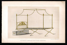 FOUR POSTER BED FRAME 1850s R.W. Winfield - Day & Son ANTIQUE LITHOGRAPH