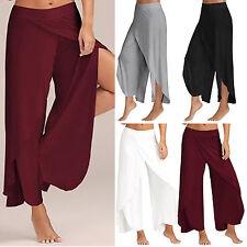 Womens Chiffon Split Skirt Pants Harem Palazzo Empire Waist Wide Leg Trousers