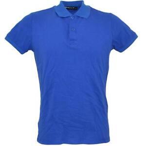 Polo maglia blu cobalto uomo in cotone con colletto a manica corta made in italy