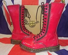 9733 Calf High*Bright Pillarbox Red Patent Leather Dr Doc Martens*Double Zip*5