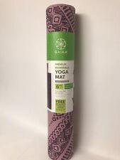 Gaiam Premium Reversible Yoga Mat - 6mm Two Unique Prints- Purple & Pink- New
