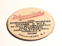 "1 5/8"" Milk Bottle Cap Delaware Valley Dairy  Phillipsburg N.J. Pasteurized"