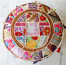 Indian Vintage Handmade White Round Pouffe Cover Footstool Ottoman Patchwork