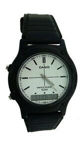 NEW CASIO AW49 Round Black Rubber Resin Digital Analog Sport Alarm Watch 50 M WR