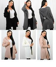 Ladies Warm  Chunky Pom Pom Hood Ribbed Knitted Cardigan UK Size 8-16