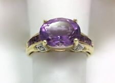 Amethyst & Diamond Oval Solitaire Accent Ring Size 9 Princess 14k Yellow Gold...