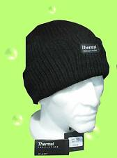 MENS KNITTED RIBBED BEANIE HAT THERMAL THNSULATED FLEECE LINED 40g BLACK WARM