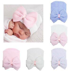 Newborn Toddler Baby Jungen Mädchen Turban Bowknot Beanie Hut Winter Warm Cap