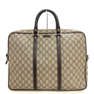 Auth GUCCI GG Plus GG Supreme 201480 Beige DarkBrown PVC Leather Business Bag
