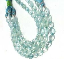 AAA NATURAL BLUE AQUAMARINE FACETED OVAL SHAPE BRIOLETTES LOOSE GEMSTONE BEADS