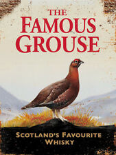 The Famous Grouse vintage scotch whiskey ad reproduction steel sign bar decor