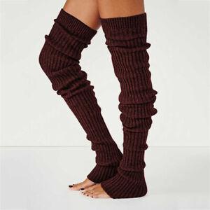 Women Ladies Winter Long Warm Leg Warmers Cable Knit Knitted Crochet Long Socks