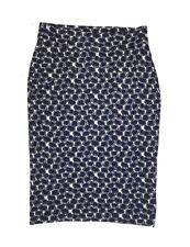 Diane Von Furstenberg Sz 10 Pencil Skirt Blue Wool Blend Midi Length Stretch BI