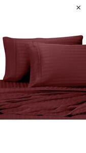 Pure Beech 100% Modal Sateen Stripe 500 TC 2 Standard/Queen pillowcases BURGANDY