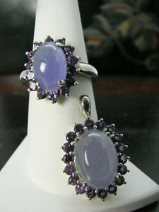 Ring and Pendant Set  Amethyst Cabochons in Sterling Silver   RSA9