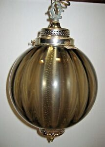 "Vintage MCM Smoke Optic Glass Hanging Light Swag Lamp 10"" Globe has Diffuser"