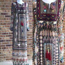 BoHo sz L Maxi Tassle Pattern Dress Chic by Tantra Slip Lined Moo Moo