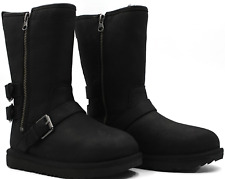 Ugg Kaila Kid's Boots Black Leather Winter Boot Size 1 - New Authentic