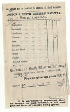 London & North Western Railway Hotel Liverpool Bill Circa 1900  112c