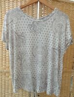 M&S Collection Grey & Cream Tunic Top With Baroque Print Size 16 Short Sleeves