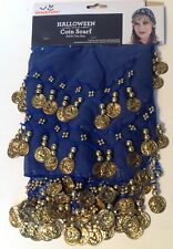 Halloween Gypsy Bohemian Coin Scarf Navy Blue Gold Coins New