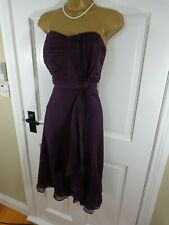 Coast Purple 100% SILK Special Occasion Lined Dress, UK 16 18, Excellent Cond