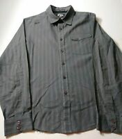 Fox Racing Mens Shirt Size M Gray Striped Long Sleeve Button Front Cotton Blend