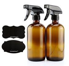 Botellas De Vidrio De Ámbar Con Spray Vaporizador Etiquetas Reutilizables