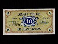 Belgium:P-M4,10 Francs 1946 * Military Issue * ARMEE * AU-UNC *