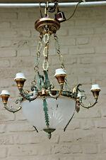 Vintage Empire Bronze swan arm Crystal glass bowl chandelier
