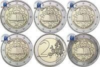 Deutschland 2 Euro Römische Verträge Set 2007 Mzz. A, D, F, G. J im Münzstreifen