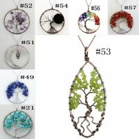 Newest Natural Gemstone Amethyst Chakra Healing Tree of Life Pendant Necklace