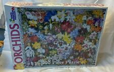 """Orchids 284 White Mountain Puzzle 1000 Piece 24"""" x 30"""" Jigsaw Family New Sealed"""