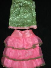 New ListingVintage Barbie Tagged #1845 Scene Stealers green lame shell pink green skirt Vg