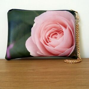 Clutch Bag Hand Evening Floral Gold Strap Faux Leather Chain Handmade Travel
