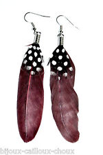 Earrings Silver Plated Feathers Brown Black White Jewel
