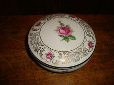 Vintage Schumann Germany Porcelain Dresser Powder Trinket Jar Box Roses