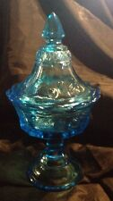 Vintage Blue Glass Pedestal Covered Candy Dish With Strawberry Etchings