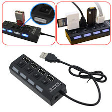 Black LED 4 Port USB 2.0 Hub High Speed Power On/Off Button Switch for Laptop XG