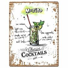 PP0689 Cocktails MOJITO Chic Plate Sign Home Bar Store Cafe Restaurant Decor