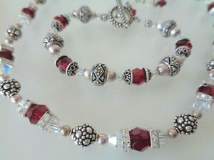 Sterling 925 Stamped Clasp, Rondelle and Glass Beads Necklace and Matching Brace