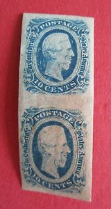 SG12 The Confederate States America 10 Cents Blue (not Ten Cents) Pair MM / MNH