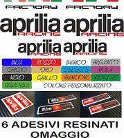 KIT 16 ADESIVI APRILIA RACING FACTORY + 6 APRILIA RESINATI MOTO STICKERS COD18