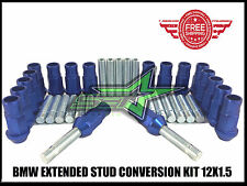 BMW EXTENDED STUD CONVERSION KIT 12X1.5 | 57MM + 20 BLUE ALUMINUM TUNER LUG NUTS