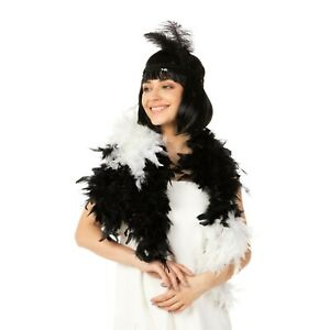 Black White Feather Boa Fancy Dress Flapper Costume 1920s Dance Feather Garland