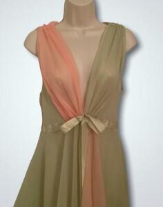 Vintage Nylon Double Chiffon Nightgown 34 S Long Grecian Sheer Color Block
