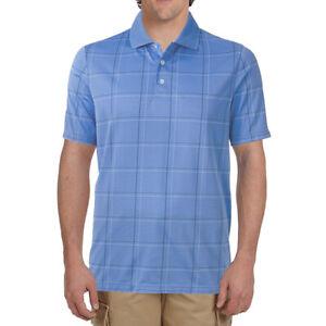 New Croft & Barrow Men's Windowpane Performance Polo Shirt Light Blue MSRP $42
