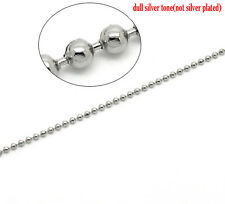 2mtr HYPOALLERGENIC STAINLESS STEEL 2.4mm BALL CHAIN+10 connectors~Necklace(21J)