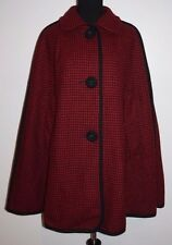 Classic Penguin Red Black Houndstooth Wool Cape Poncho Sz L XL Christmas Caroler